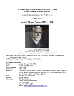 UTS: Josiah Strong Papers, 1855-1969