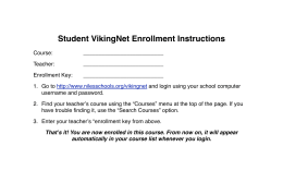 Student VikingNet Enrollment Instructions