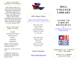 HILL COLLEGE LIBRARY