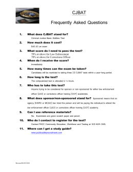 CJBAT Frequently Asked Questions