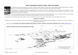 Generic Geographic Features Listing – Maori and English