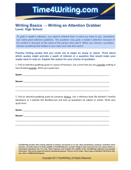 Writing Basics → Writing an Attention Grabber