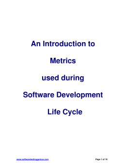 An Introduction to Metrics used during SDLC
