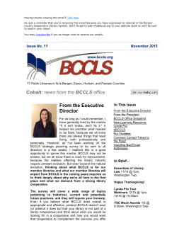 Cobalt: news from the BCCLS office From the Executive Director