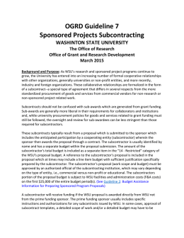 OGRD Guideline 7 Sponsored Projects Subcontracting