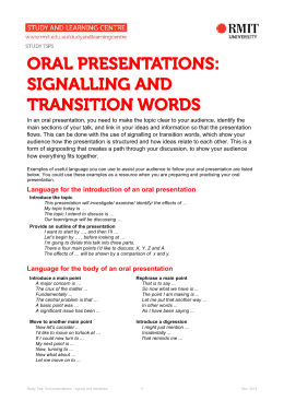 Oral presentations: signalling and transition words (PDF