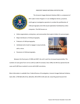 INNOCENT IMAGES NATIONAL INITIATIVE (FBI) The Innocent