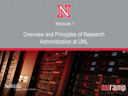 Overview and Principles of Research Administration at UNL