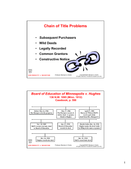 Chain of Title Problems - University of Houston Law Center