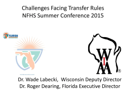 Challenges Facing Transfer Rules NFHS Summer Conference 2015