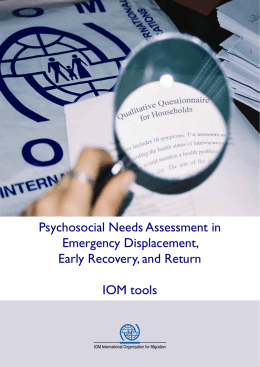 Psychosocial Needs Assessment in Emergency