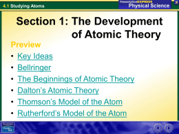 Section 1: The Development of Atomic Theory