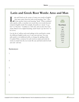 Latin and Greek Root Words: Amo and Man