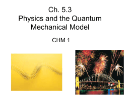 Ch. 5.3 Physics and the Quantum Mechanical Model