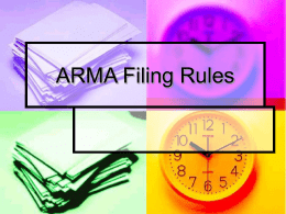 ARMA Filing Rules - Spokane Falls Community College!