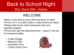 Back to School Night Aztecs Ppt