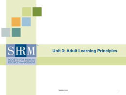 Unit 3: Adult Learning Principles