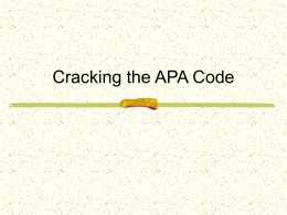 Cracking the APA Code - word