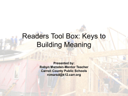 Reader Tool Box: Keys to Building Meaning