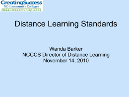 Distance Learning Standards - Carteret Community College