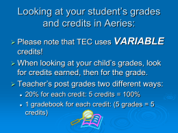 Variable Credits Presentation