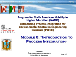Module 8: introduction to process integration