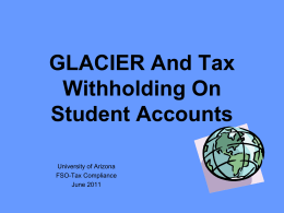 GLACIER and Tax withholding on Student