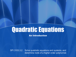 Methods Used to Solve Quadratic Equations