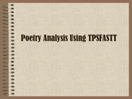 PPT: Poetry analysis using tpfastt