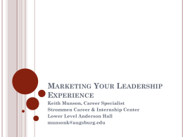 Marketing Your Leadership Experience