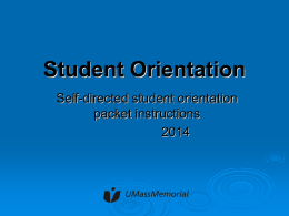 Student Orientation - UMass Memorial Health Care