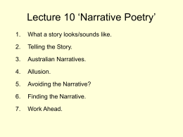 Narrative Poetry - Victoria University WWW Staff