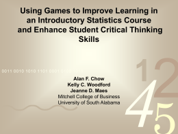 Using Games to Improve Learning in an Introductory Statistics