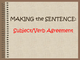 Notes on Subject/Verb Agreement File