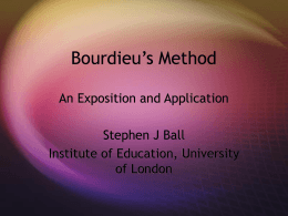 Bourdieu`s Method