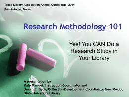 Research Methodology 101 - NMSU Library