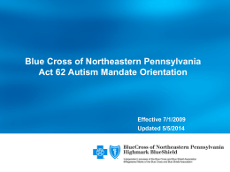 Autism Orientation - Blue Cross of Northeastern Pennsylvania