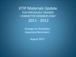 KTIP UPDATE for 2011 - 2012 - Education Professional Standards