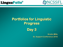 LinguaFolio Jr. - NC English Language Development Essential