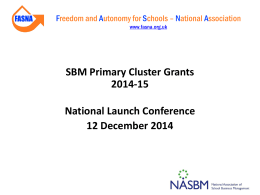 SBM PC Grant National Conference - 12 December 2014