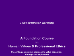 3-Day Value Orientation Workshop