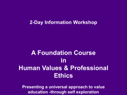 2-Day Value Orientation Workshop