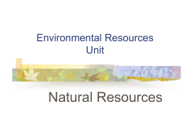 Environmental Resources Unit A Natural Resources