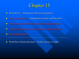 Chapter 15 Section 1 THE ROAD TO WAR - Mrs. Balk