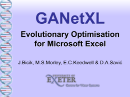 An Optimisation add-in for Microsoft Excel