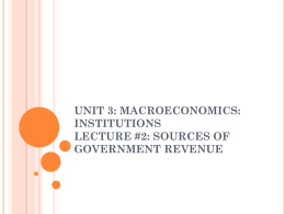 Unit 3: Macroeconomics: Institutions Lecture #2: Sources of