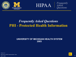 HIPAA Frequently Asked Questions - University of Michigan Health