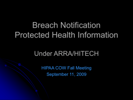 Breach Notification for Unsecured Protected Health
