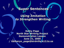 Using Imitation to Strengthen Sentences