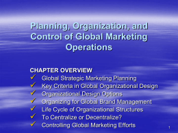 ORGANIZING GLOBAL MARKETING EFFORTS Chapter